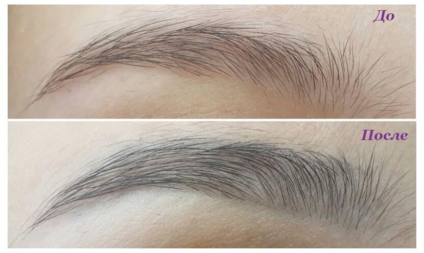 Карандаш для бровей Essense black Фото до и после