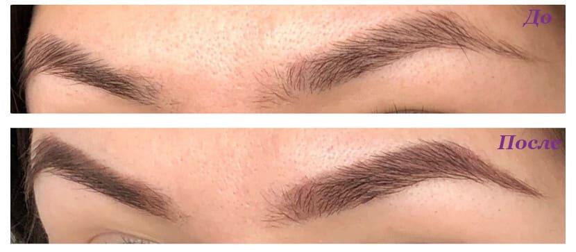 Карандаш для бровей Essense dark brown Фото до и после
