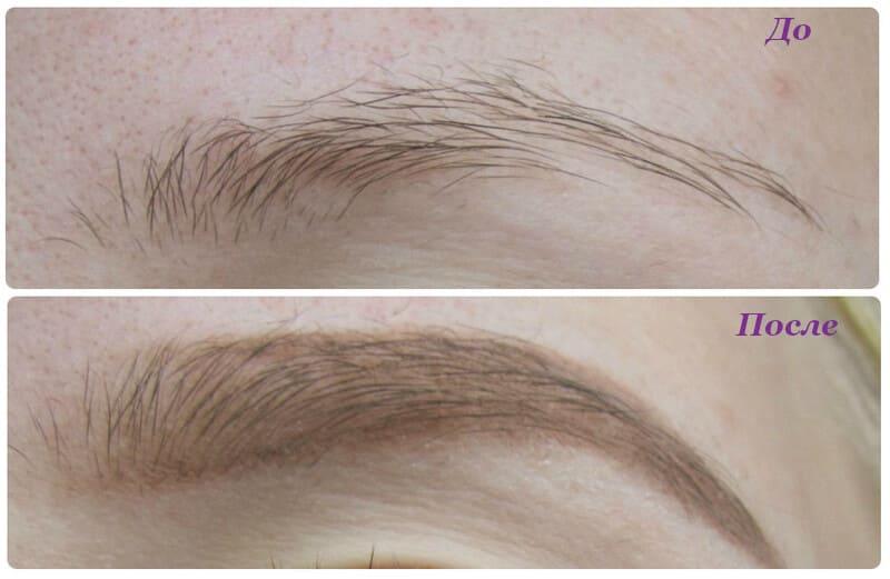 Карандаш для бровей Essense soft blond фото до и после