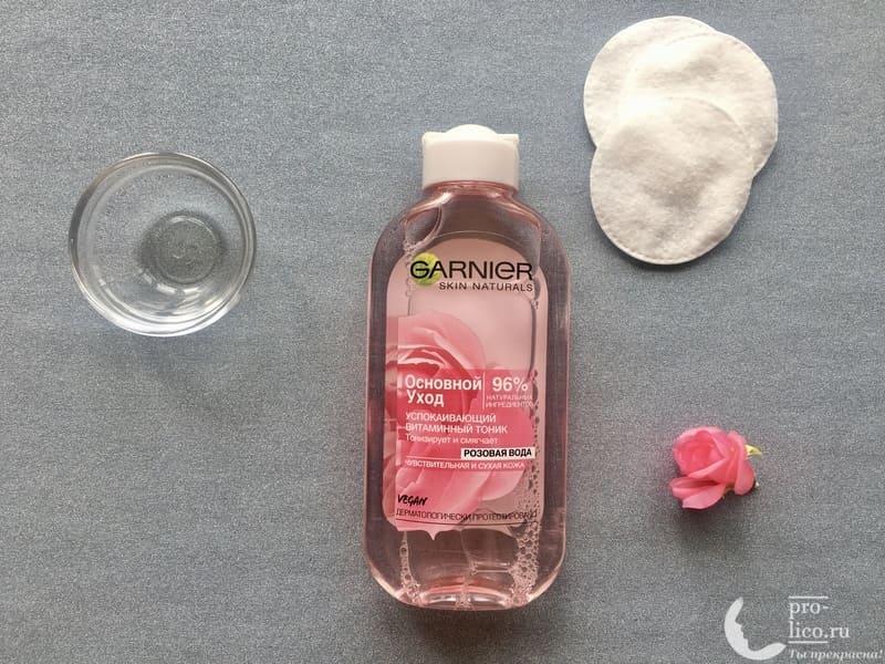 """Успокаивающий витаминный тоник Garnier Основной уход """"Розовая вода"""" — мой отзыв, разбор состава, плюсы и минусы"""