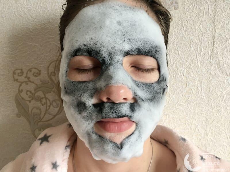 Черная пузырьковая маска для лица «Вулканический пепел» от Skinlite эффект