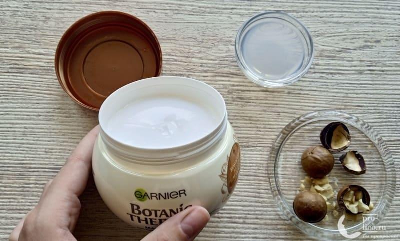 Маска для волос Garnier Botanic Therapy 3 в 1 Кокосовое молоко и Макадамия консистениция