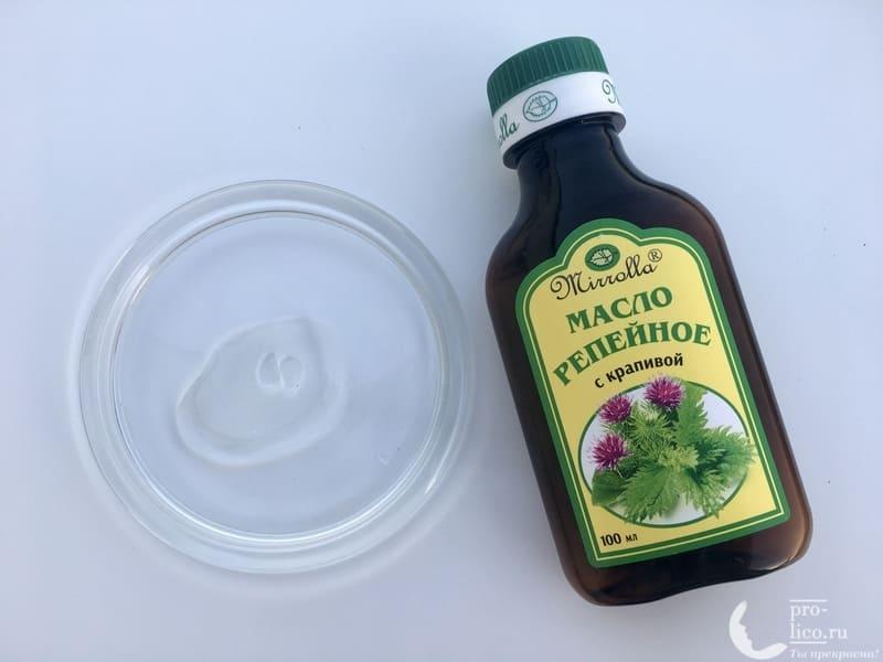 Масло репейное для волос Мирролла с крапивой консистенция