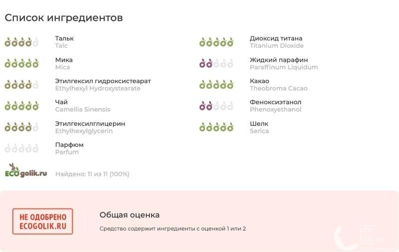 Бархатистая компактная пудра Eveline состав