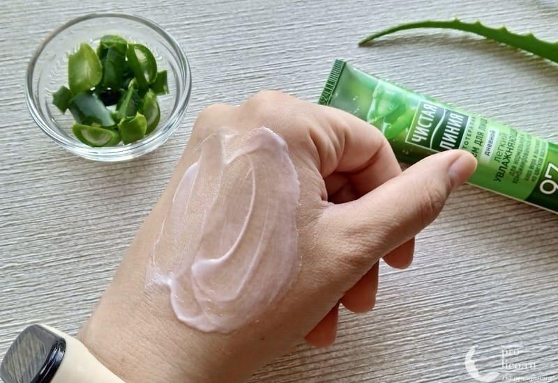 Крем для лица Чистая линия дневной увлажняющий для нормальной и комбинированной кожи консистенция