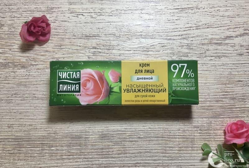 Крем для лица Чистая линия «Насыщенный Увлажняющий» для сухой кожи с экстрактом лепестков розы упаковка