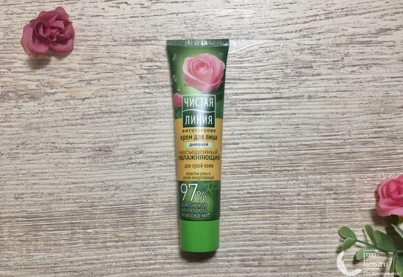Крем для лица Чистая линия «Насыщенный Увлажняющий» для сухой кожи с экстрактом лепестков розы